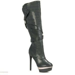 "Just Fab Black ""Augustine"" Stiletto Boots 6.5"